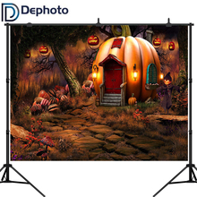 Dephoto Halloween Pumpkin House Photography Backdrop Baby Child Party Fairy Tale Forest Background Photo Studio Booth Props