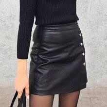 Colorfaith 2019 נשים עור חצאית סתיו חורף כפתורי אונליין מזדמן Eelegant גבירותיי אופנה ירך חבילת מיני חצאית SK8702