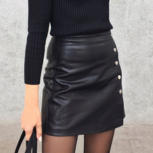 Colorfaith 2019 Women Leather Skirt Autumn Winter Buttons A line Casual Eelegant  Ladies Fashion Package Hip Mini Skirt SK8702