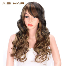 цена на AISI HAIR Black Mixed Light Brown Wig with Bangs Long Wavy Synthetic Wigs for Black Women Blond Hair Heat Resistant Natural Wigs