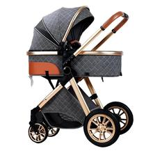 2 in 1 Baby Stroller Carriage Foldable Luxury Pushchair High View Pram Car Seat Grey Blue Khahi