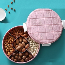 Creative round candy box party wedding supplies plastic lazy dried fruit plate snacks melon seeds