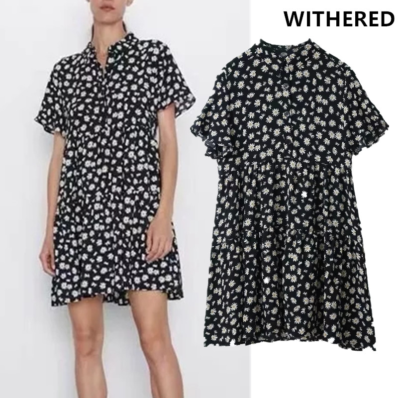 Withered Party Dress Women Vestidos England Daisy Flower Print Long Shirt Loose Vestidos De Fiesta De Noche Mini Dress Blazer