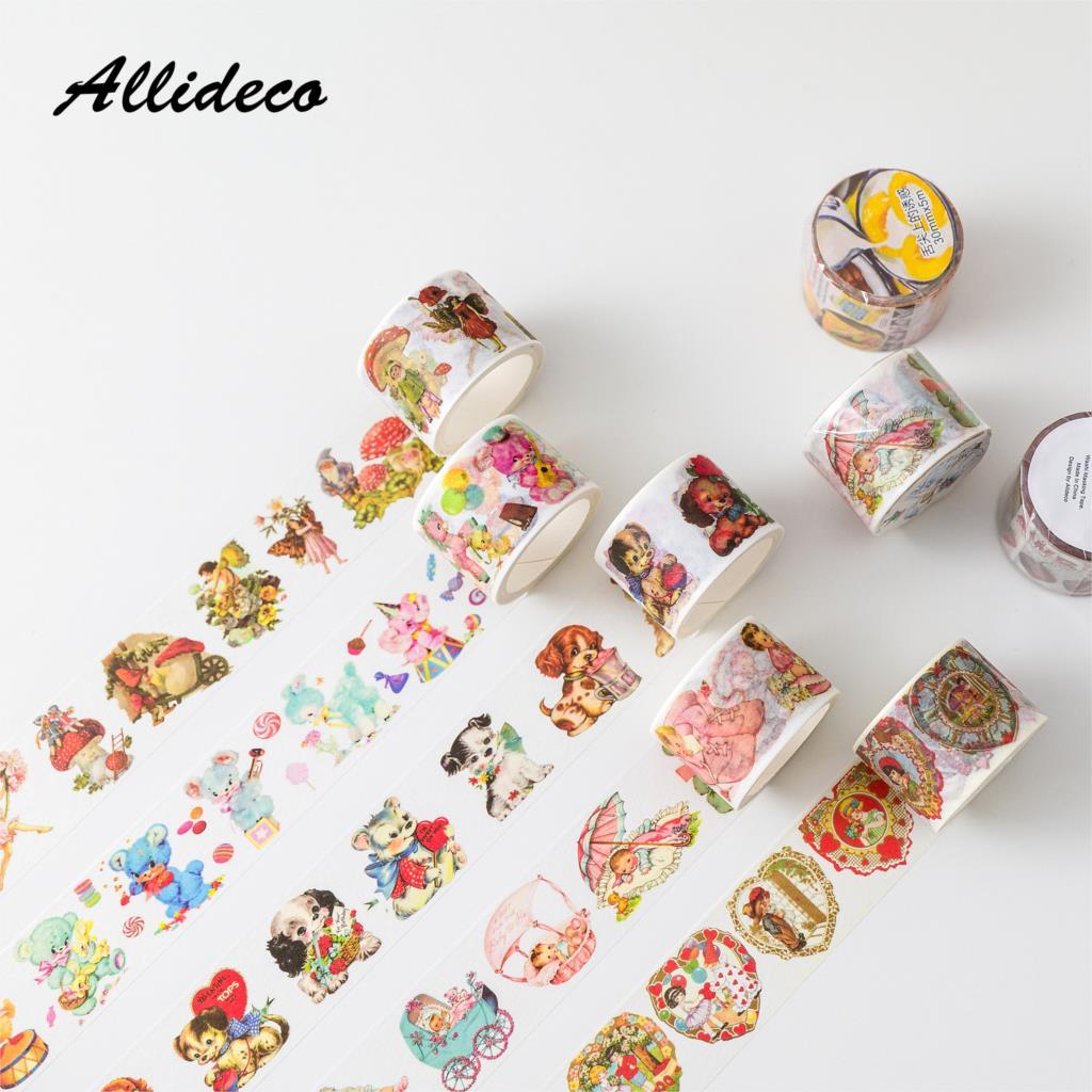 1 adet/1 grup Washi maskeleme bantları hayvan çilek kek dekoratif yapışkanlı Scrapbooking kendi başına yap kağıdı japon çıkartmalar 5m
