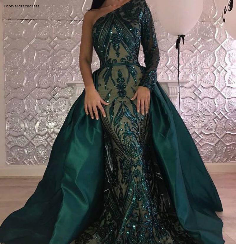 2019 Long Sleeves   Evening     Dress   Arabic A Line One Shoulder Pageant Formal Holiday Wear Prom Party Gown Custom Made Plus Size