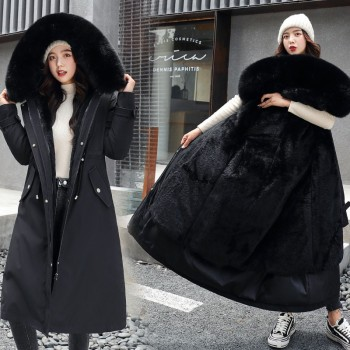 Fitaylor New Winter Long Coat Women Warm Thickness Hooded Parkas Plus Size Large Fur Collar Embroidery Jackets Padded Coats