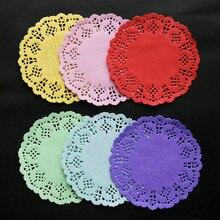 Servilletas de 100 Uds. De 3,5 pulgadas tapete de papel de encaje con huecos posavasos Vintage posavasos pastel boda cumpleaños decoración de mesa de fiesta