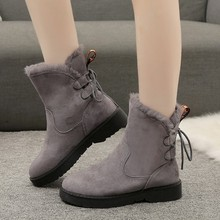 2019 Winter Shoes Women Snow Boots Warm Plush for Cold Ankle Flat Female Black Grey A1905