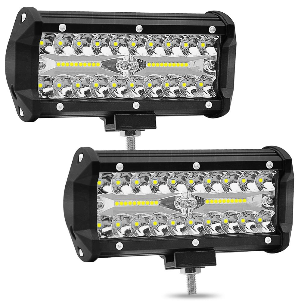 2pcs 7 Inch 120W Combo LED Working Light Spot Flood Beam Headlamp For Car Tractor Truck Work Driving Offroad Boat 12V 24V