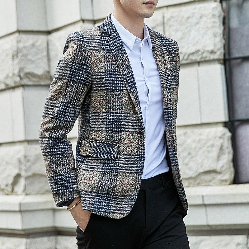 Slim Fit Casual Coat Grey Men Blazer Gents Suits Men Dress Jacket Casual Jacket Suit Trajes Hombre Casuales Coats KK60XX