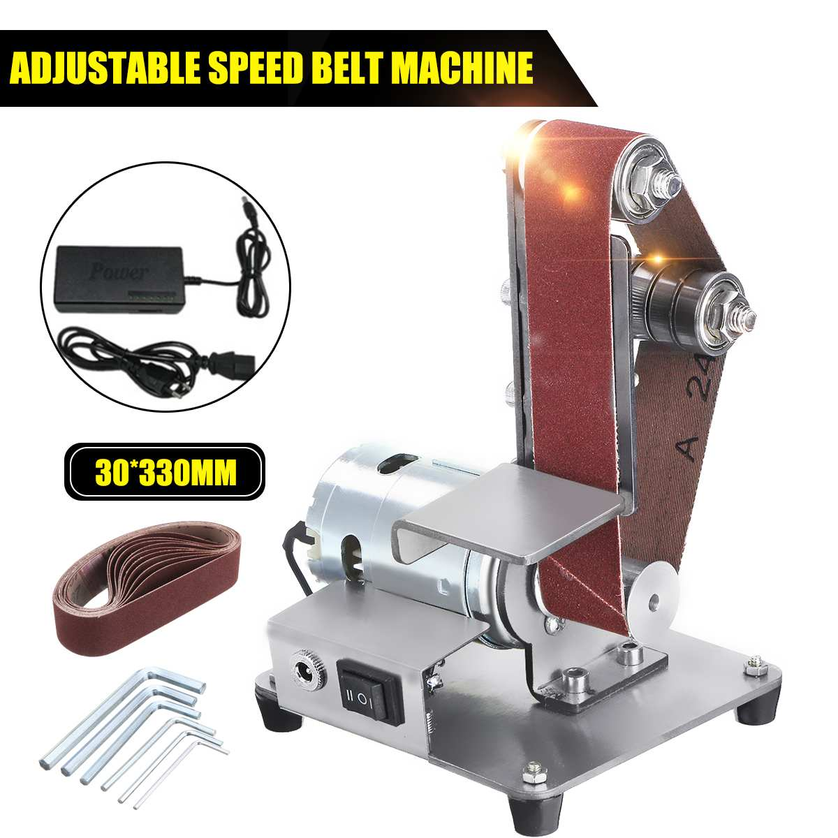 Mini Electric Belt Machine <font><b>Sander</b></font> 350W Sanding Grinding Polishing Machine Abrasive Belt Grinder Polisher Cutter Edges Power <font><b>Tool</b></font> image