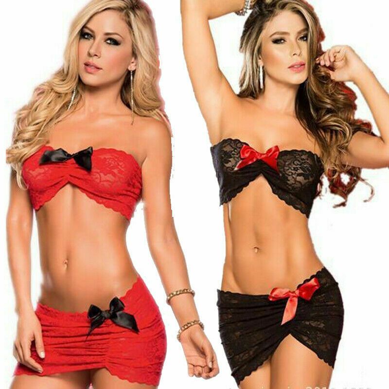 Party Womens 2pcs Sexy Ladies Lingerie Dress Floral Sleepwear Bra+G-string Nightwear Underwear Babydoll Bikini Cover
