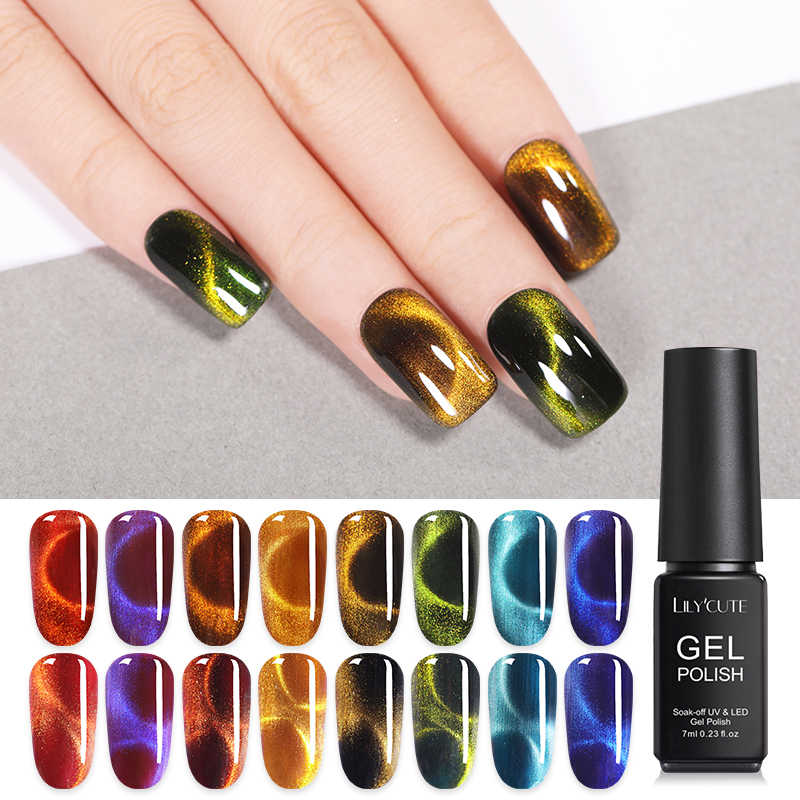 Lilycute 7 Ml Glaze Glass Magnetik 9D Chameleon Cat Eye Gel Polish Berkilauan Rendam Off Paku Seni Sinar UV Gel Varnish semi Permanen Gel