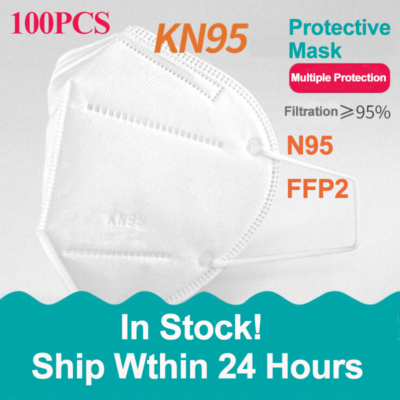 100PCS KN95 Mask Respirator 5 Layers Safety Protective Mask Filter PM2.5 Mouth Face Mask Dust Face Shield AS N95 FFP2 Mask White