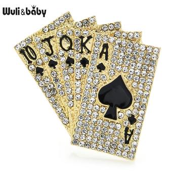 Wuli amp baby musujące całkowicie wyłożone kryształkami Poker broszka przypinki 10 J Q K A 2021 projektant kobiet modna biżuteria na prezent tanie i dobre opinie Wuli baby CN (pochodzenie) Ze stopu cynku BROSZKI GEOMETRIC WB7XZHD1536 moda Unisex TRENDY Rhinestone 4 1*4 1cm Women Lady Girls Unisex Lovers Men
