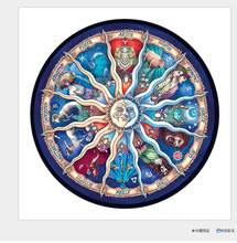 Wooden Jigsaw Puzzles- Round Zodiac Horoscope Unique Wooden Puzzle for Kids and Adults