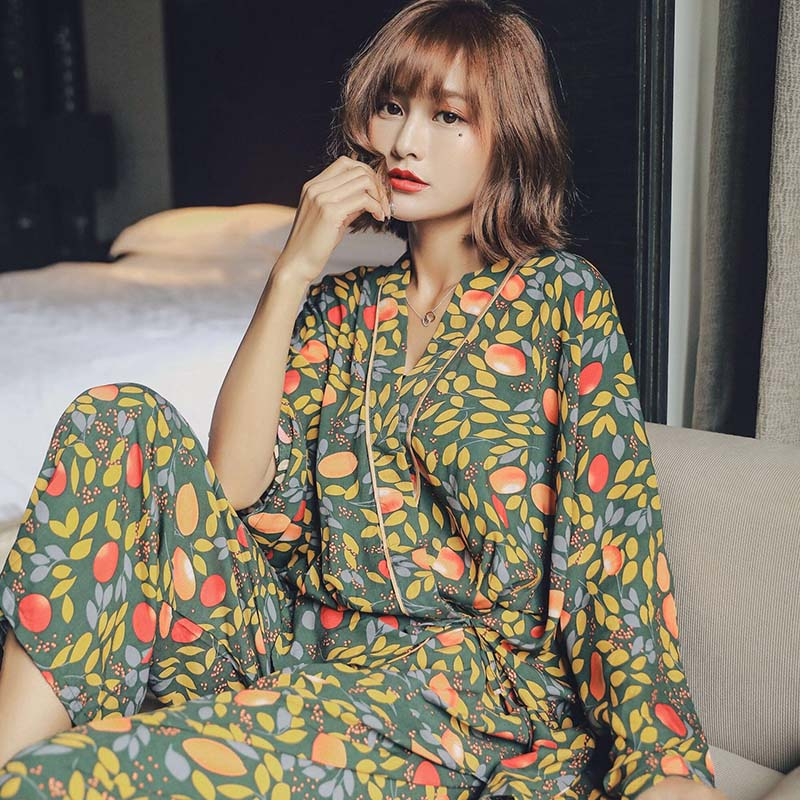 Spring New Ladies Pajama Set Mango Leaves Print Kimono Style Cotton Satin Sleepwear  Set Thin Loose Comfort Homewear Casual Wear