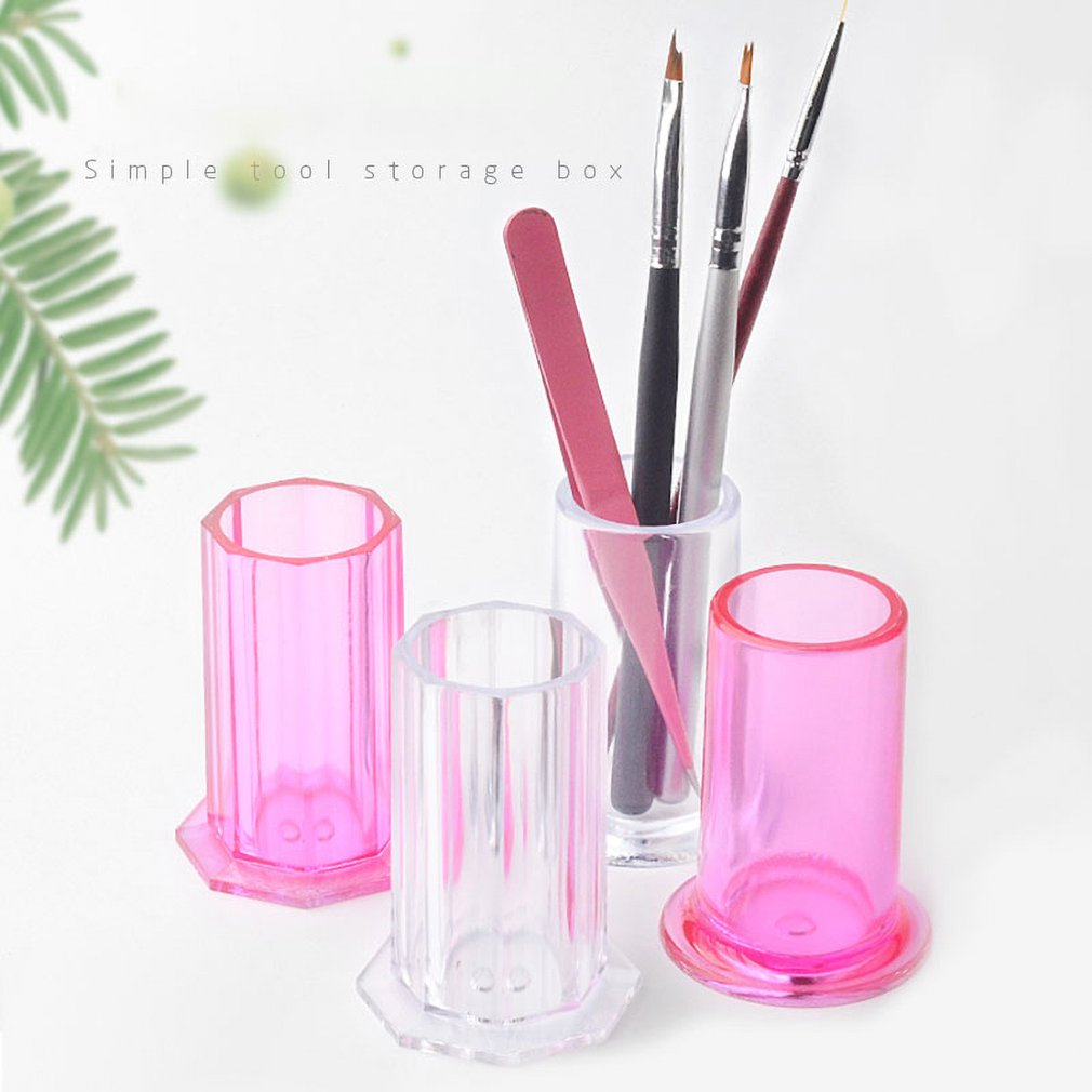 1pc Round Octagon Nail Art Brushes Storage Holder Cat Eye Magnet Pens Accessories Hollow Container Transparent Manicure Tool