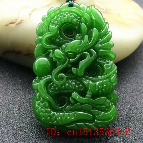Натуральный зеленый Нефритовый дракон кулон ожерелье очарование