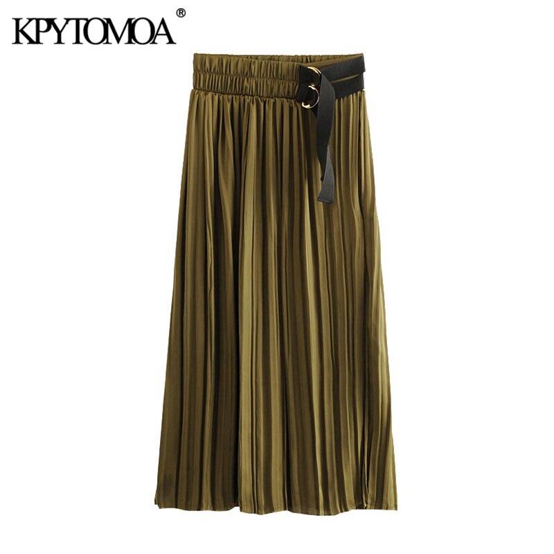 KPYTOMOA Women 2020 Chic Fashion Cozy Pleated Midi Skirt Vintage Elastic Waist Front Slit Female Skirts Casual Faldas Mujer
