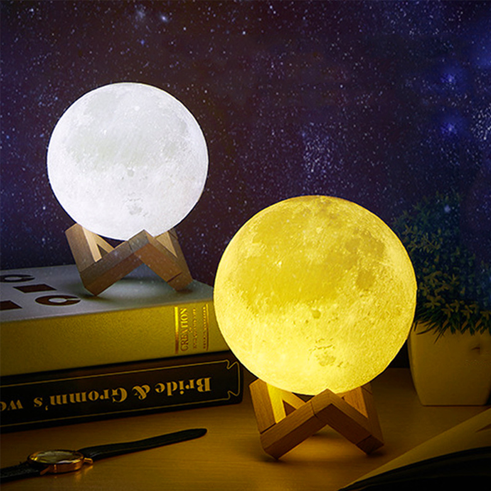 2020 Dropshipping Rechargeable 3D Moon Lamp 2 Colo