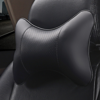 1 Pcs Large Car Neck Pillows Both Side PU Leather Single Headrest Fit for Most Cars Filled Fiber Universal Car Pillow image