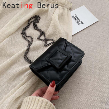 Leather Tiny Crossbody Bags For Women Vintage Designer Square Luxury Lipstick Case Mini Chain Shoulder Handbag Cross Body Bag vintage engraved floral body chain