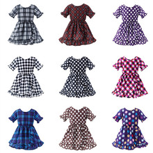 Girl dress summer dress Summers clothing wear Girl clothes European clothes kids Retro speckled checkered 2-6 years old mesh checkered flowy dress