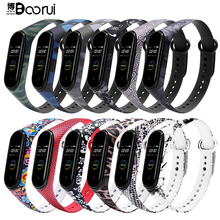 BOORUI for Xiaomi Mi Band 4 Strap Silicone printing flowers miband NFC 5 strap miband 4 accessories for xiaomi mi band 3/4/5
