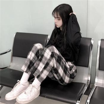 dropshipping Harajuku Plaid Pants For Women Trousers 2020 Streetwear Woman Harem Pants Autumn Ladies Causal Pants Plus Size 2