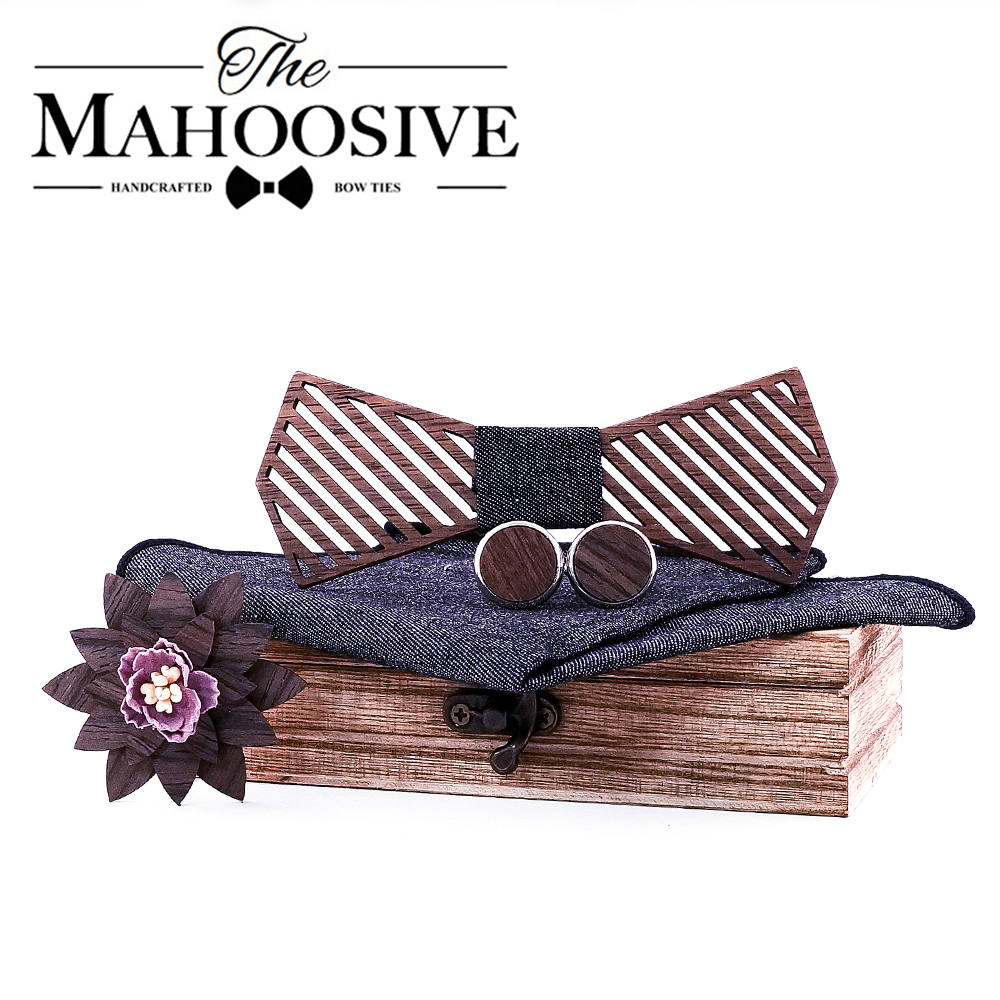 Mahoosive Formal Dress Wooden Bow Ties Men Papion Man Boda Homme Model Handkerchief Cufflinks Gifts Ties For Men Cadeau Homme