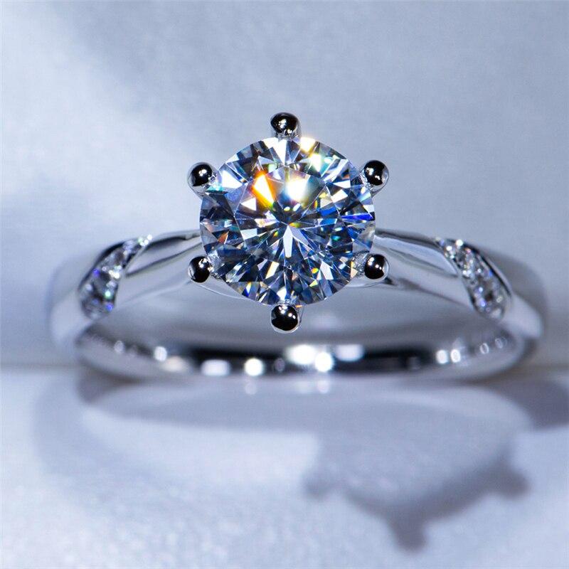 14K זהב לבן טבעת 1.0ct 2.0ct 3.0ct עגול לחתוך Moissanite טבעת פשוט סגנון אירוסין טבעת יום נישואים טבעת עבור נשים