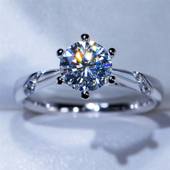14K White Gold Ring 1.0ct 2.0ct 3.0ct Round Cut Moissanite Ring Simple style Engagement Ring Anniversary Ring For Women