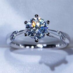 14K beyaz altın yüzük 1.0ct 2.0ct 3.0ct yuvarlak kesim moissanit yüzük basit tarzı nişan yüzüğü yıldönümü yüzüğü kadınlar için