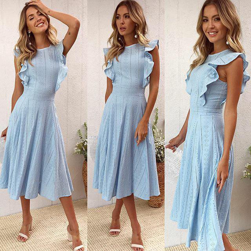 VITIANA Women Office Casual Maxi Long Midi A-Line Dress Female 2018 Summer White Blue Solid Lace Sleeveless Elegant Party Dress