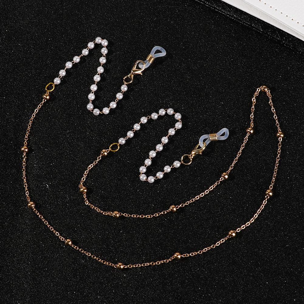 61/70cm Fashion Pearl Acrylic Beaded Eyeglasses Chain Charm Elegant Eyewear Lanyard Sunglasses Strap Cord Holder Glasses Rope