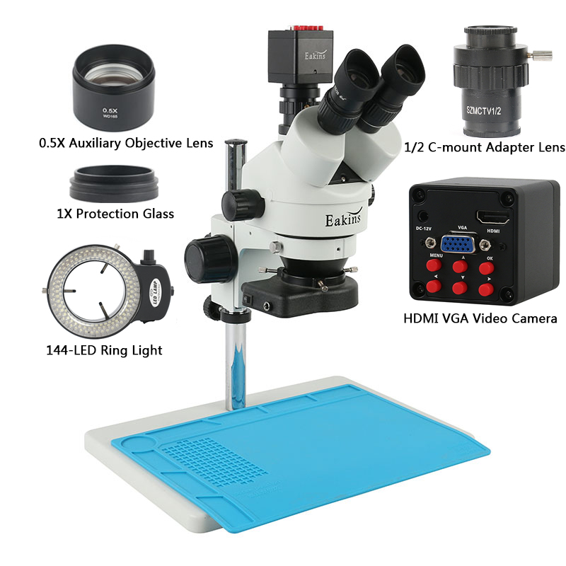 Clearance SaleStereo Microscope Phone-Pcb Trinocular Hdmi Camera Simul-Focal Repair-Lab 7x45x IMX307