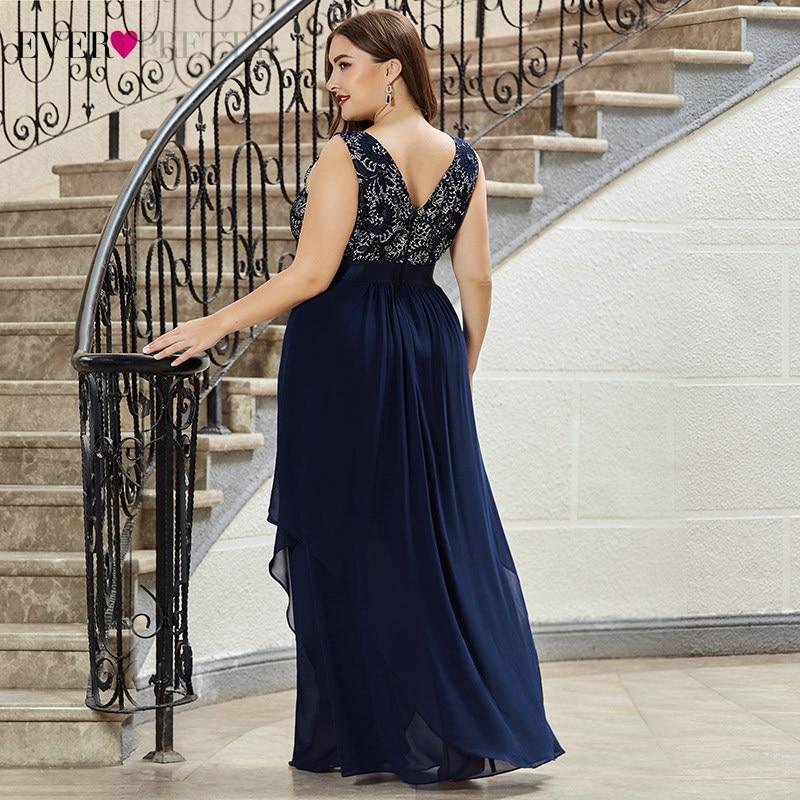 Image 3 - Plus Size Lace Bridesmaid Dresses Ever Pretty EP08217 A Line O Neck Sleeveless Elegant Chiffon Wedding Party Gowns VestidosBridesmaid Dresses   -
