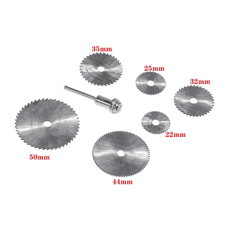 7Pcs HSS Rotary Tools Circular Saw Blades Cutting Discs Mandrel Cutoff Cutter Power Tools Multitool Christmas Gift