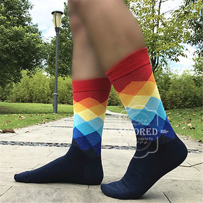Image 3 - MYORED 5 pair/lot men's Socks combed cotton jacquard bright color diamond mens business socks casual dress wedding gift NO BOX-in Men's Socks from Underwear & Sleepwears