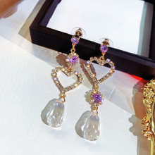 Asymmetric Love Crystal Earrings Female Super Fairy Shiny  European and American Temperament