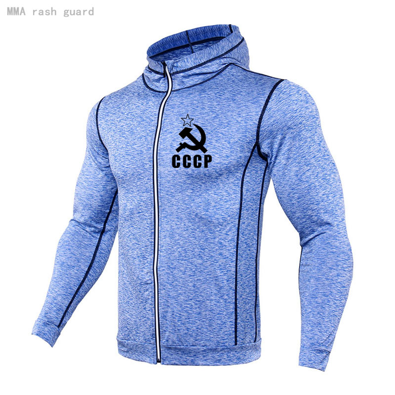 Casual Men's Sweater hoodie Autumn Fitness Jogging suit Breathable stretch tight CCCP Hoodie Long sleeve tracksuit Men clothing 4