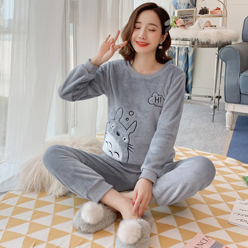 Thick Warm Flannel Cute Cartoon Totoro   Pajama     Sets   Women Winter Long Sleeve Coral Velvet Sleepwear Pijama Mujer Homewear Clothes