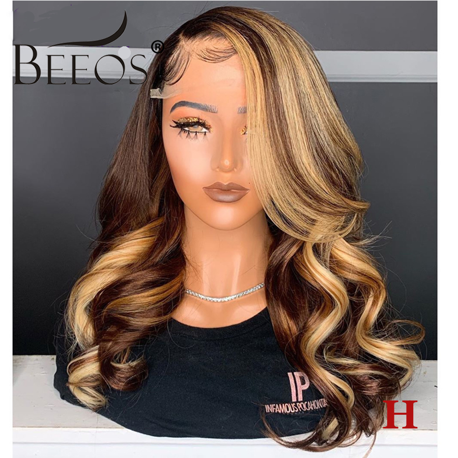 Wavy Highlight Colored 4/27HL 13*6 Deep Part Lace Front Human Hair Wig Pre Plucked Hairline Bleached Knots Brazilian Remy Hair
