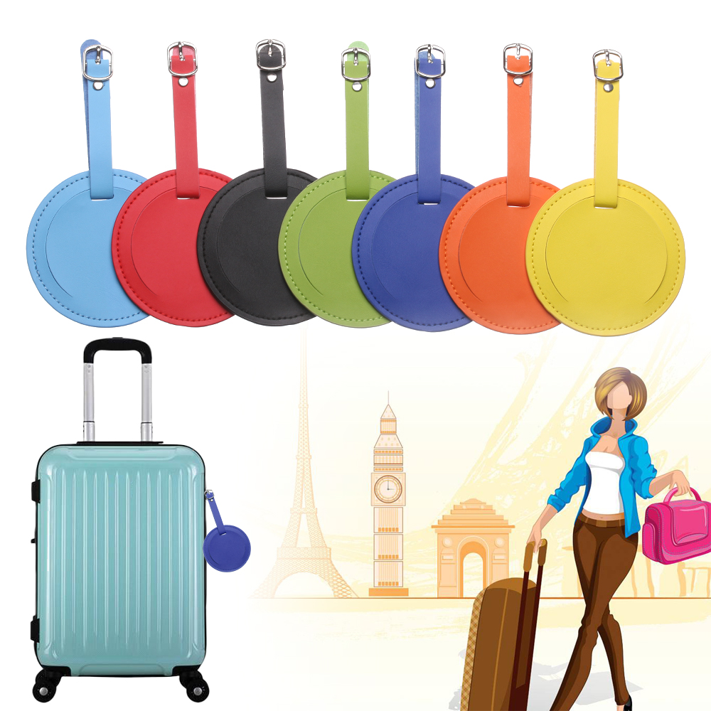 Fashion Round Luggage Tag Women Travel Accessories PU Leather Suitcase ID Address Holder Baggage Boarding Tag Portable Label Bag