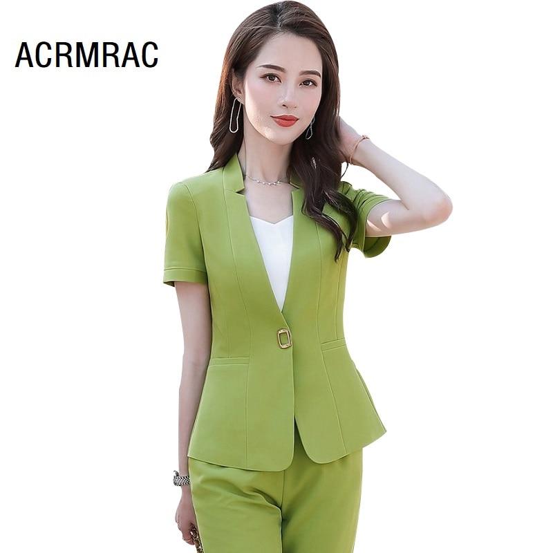 Women Suits Summer Short Sleeve Blazers Pants Office Lady Formal Work Clothes Women Pants Suits Woman Set Suits 9896