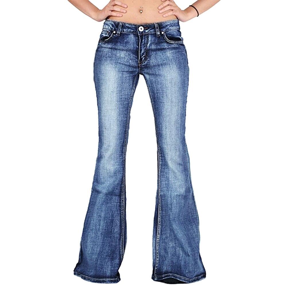 Adisputent 2020 Womens Fashion Flare Jeans Ladies High Waist Casual Skinny Wide Leg Jeans Female Denim Loose Button Long Pants