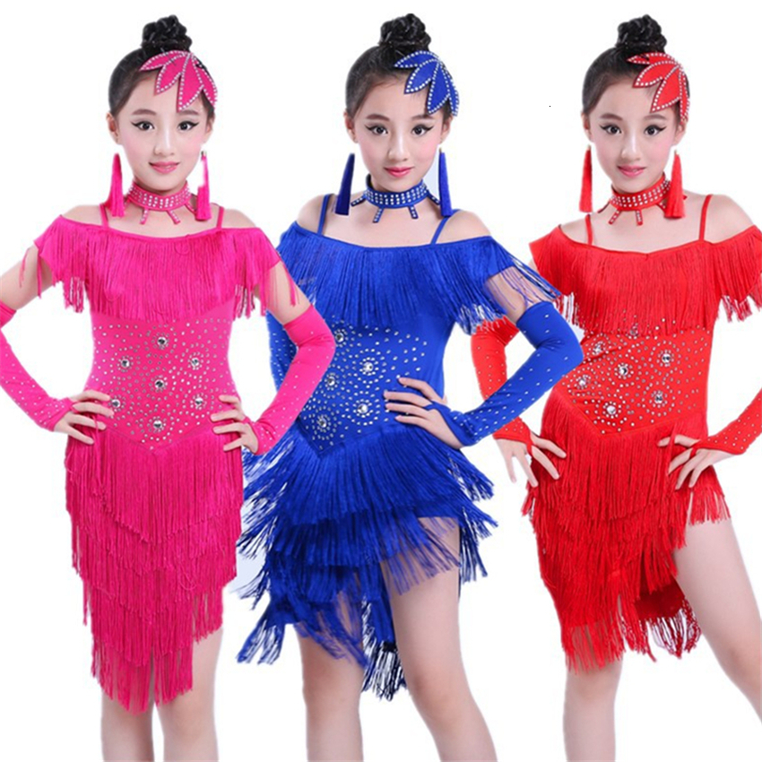 Songyuexia Kids Latin Dance Dresses For Girls Fringe Dress Tassel Salsa Sequin Stage Ballroom Performance Dancing Practice