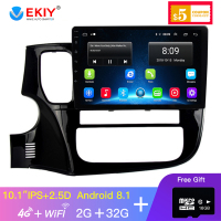 EKIY 10.1'' IPS 2.5D 2 Din Android Car Multimedia Player For Mitsubishi Outlander Xl 3 Car Radio Navigation Video Audio Player