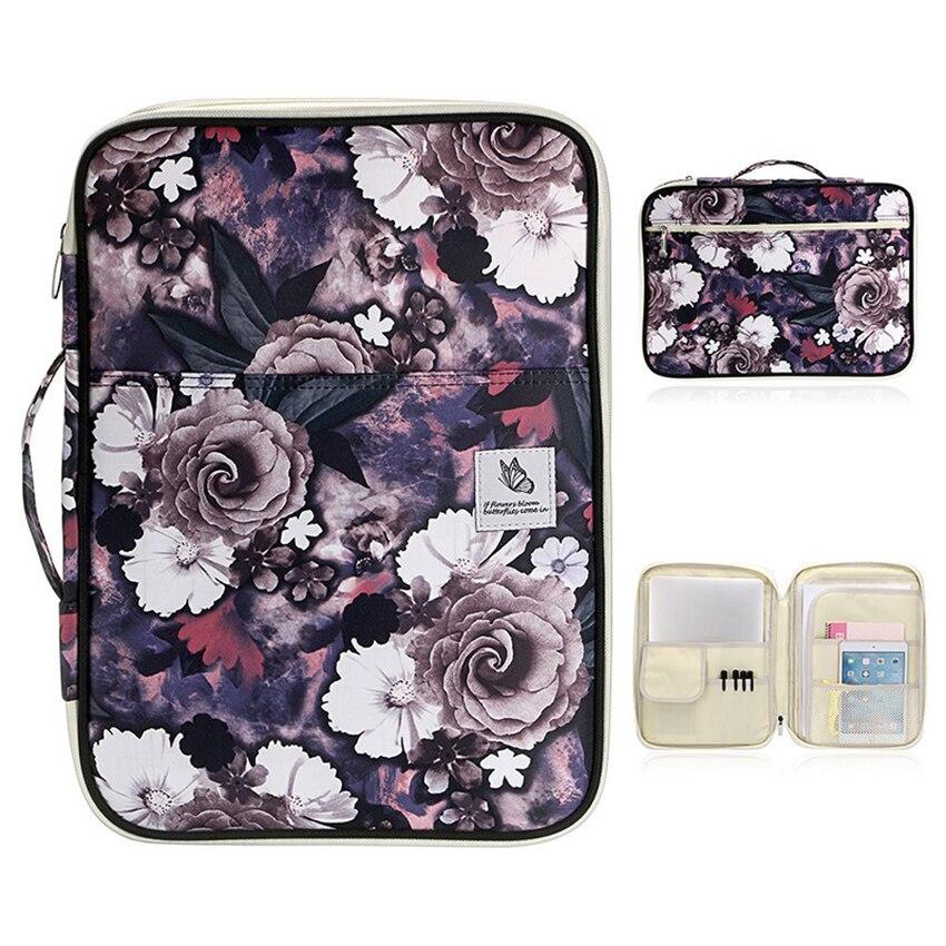A4 Flower Printing File Folder Paper Document Holder Bag Storage Case Business Briefcase Organizer Portfolio Filing Products